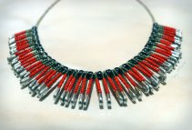Safety pins necklace red